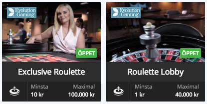 spela roulette live